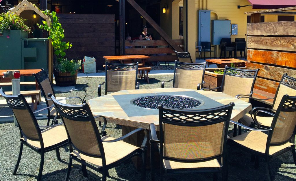 The Barberry downtown historic 3rd street - custom outdoor fire table - Sunset Outdoor Living