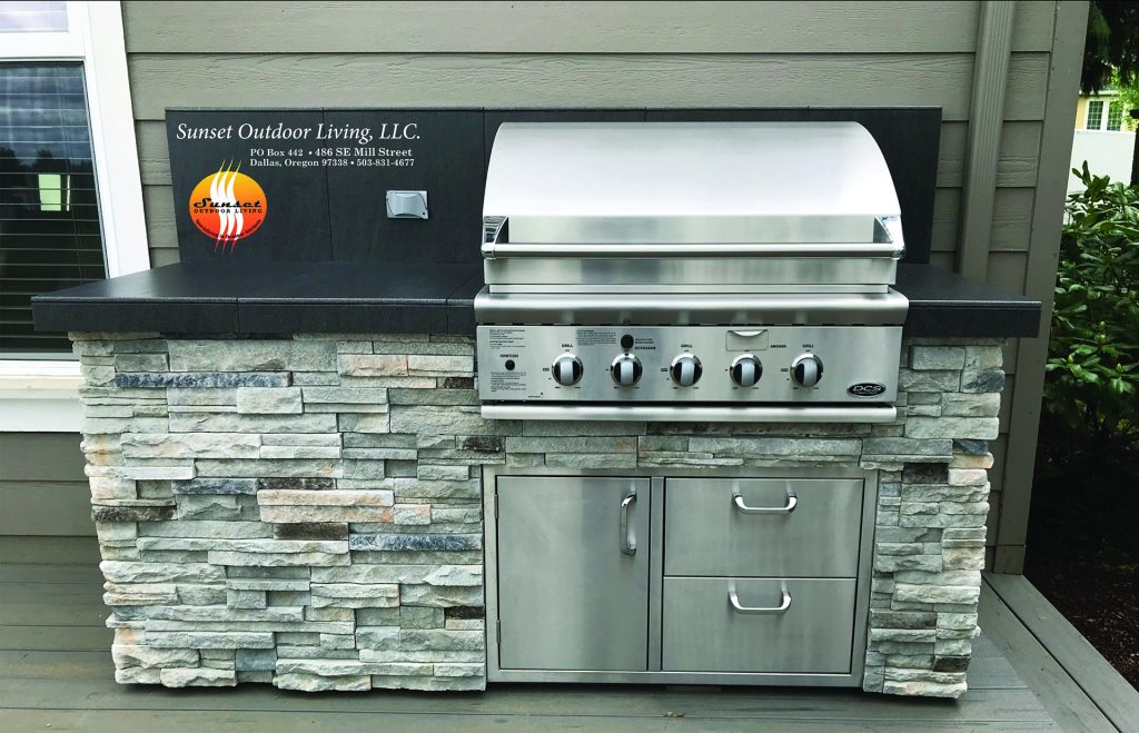 "South Salem delivery 36"" Grill, cultured stone and porcelain tile counter top"