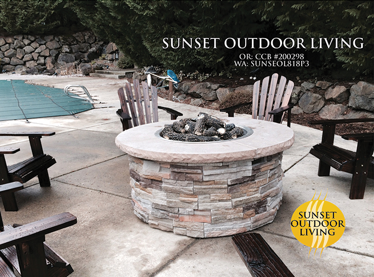 Fire pit by a pool